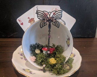 Purple and Yellow flower Teacup Garden