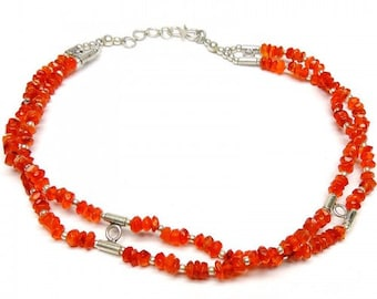 Allnonly Carnelian Beads Two Lines Necklace