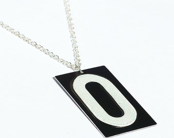 Number Zero Necklace- Upcycled Black & White Number 0 Pendant, Found Object Jewelry, Industrial Jewelry, Minimal Contemporary Jewelry