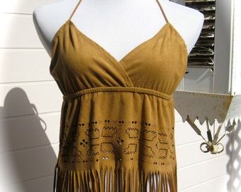 Late 80s SUEDETTE CAMI  ... Halter Neck Suedette Top - Fringed Bottom - Cut-Away Design at Waistline - Adjustable Tie Straps at Back - USA