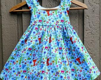 spring dress, toddler spring dress, baby woodland dress, woodland dress, woodland animal dress, woodland animal summer dress, summer dress,