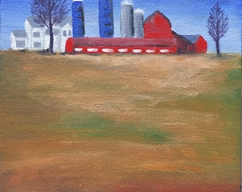 """Country Farm House, Original Acrylic Painting, Red Barn 8 x 8"""" Stretched Canvas Artwork, Home Decor Wall Hanging, Barnyard, Field, Landscape"""