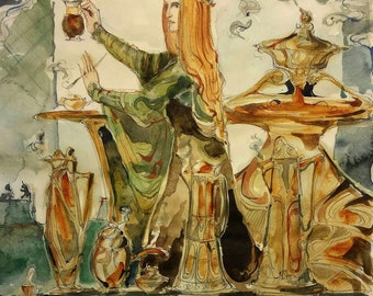 Coffee Maiden Original Painting Steampunk Cafe Bar Kettle Teapot Art Nouveau Poster Vintage Inspired Artwork Expresso Latte Medieval Maid