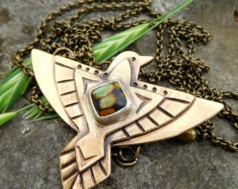 Southwestern raven necklace | brass bird necklace | Thunderbird necklace | Boho necklace | Turquoise raven necklace |