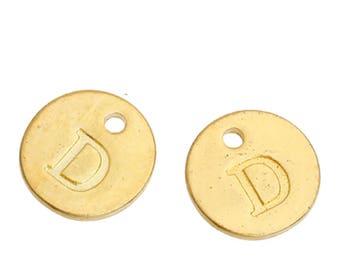 Letter D - 12mm Golden gold pendant