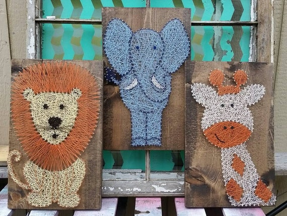 String Art Animals Safari Set Nursery Art String Art Lion