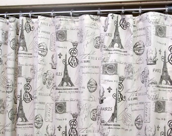 PARIS Shower CURTAIN in Black and white