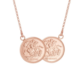 "Sterling Silver St George Double Half Sovereign Coin 17"" Necklace"