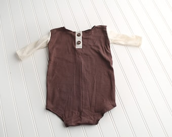Brown Paper Packages - long sleeve SITTER 9-12 month romper in a chocolate brown  knit with cream and beige heather knit sleeves (RTS)