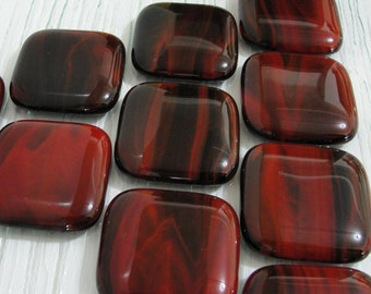 Cabinet Pulls, Fused Glass Cabinet Knobs, Drawer Knobs, Red and Black Glass Drawer Pulls, Dresser Knobs, Door Pulls, Closet Door Handles