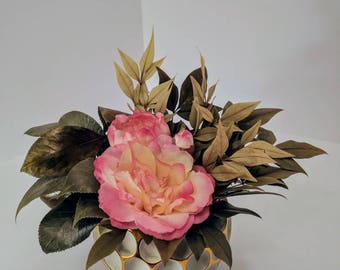 Real Touch Camellia Arrangement with Hand-Preserved Greenery - Centerpiece - Decor - Accent - Shabby Chic - Farmhouse - Floral