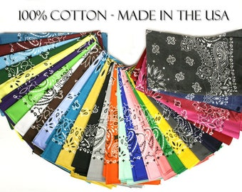 "Made in the USA Bandanas - Paisely Random Assortment (12 pack) 100% Cotton 22"" x 22"""