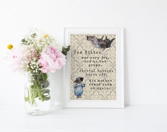 Pastel Beatrix Potter Tom Kitten Quote Nursery Print A4