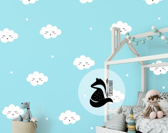 wall stickers sleepy little clouds, vinyl clouds, wall decals,