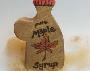 Wooden Maple Syrup Bottle  // Waldorf Play Kitchen Toy // Wooden Play Food Syrup // Waldorf Imaginative Play // Natural Cooking Toy