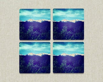 Wood Mountain Photo Coasters / Wood Coasters / House Warming / Wedding Gift / Coasters / Photo Coasters