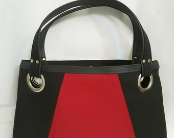 Red Black Tote Bag, Brown Faux Leather, Beach Bag, Work Bag, Travel Bag, Laptop Bag, Diaper Bag, Handbags, Large Purse, Teach Bag, Gift Idea