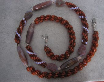 Silver Ash Agate, Sterling Silver and Faceted Glass Spiral Stitched Necklace