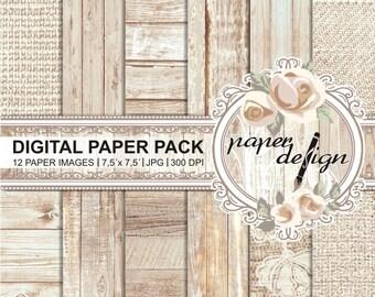 Shabby chic papers wedding vintage wood digital paper pack wood printable background-rustic wood-scrapbook paper #39