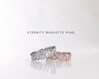 Eternity Baguette Ring:Statement Ring, Silver Cubic Zirconia Band, Wedding band, Bridesmaid Rings, Engagement Ring, Friendship Matching band