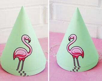 Flamingo Party Hat - Digital Printable Party Decor