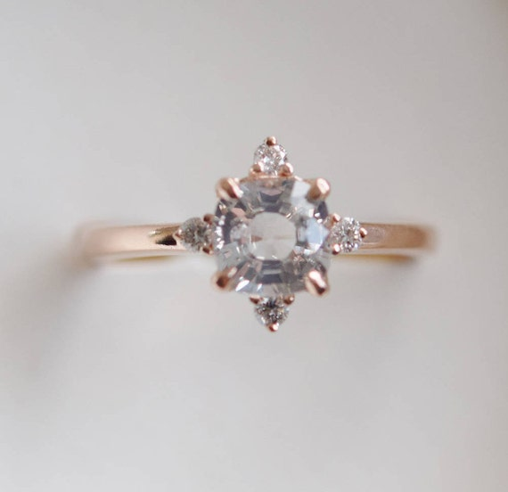 Champagne sapphire engagement ring promise ring cushion champagne sapphire engagement ring promise ring cushion engagement ring 5 stone ring rose gold engagement ring by eidelprecious junglespirit Choice Image