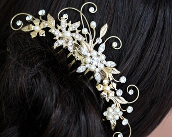 Gold Wedding Hair Comb Vintage Bridal Hair Comb Bridal Hair Accessories Rhinestone Flowers and Leaves Comb AMBRIA