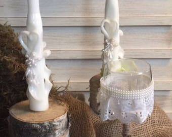 Country Pearl & Lace Wine Glass