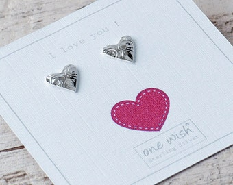 Silver Heart Stud Earrings, Personalised Gift, I Love You, Romantic Gift for her, Heart Earrings,Patterned Heart Studs,Textured Silver Heart