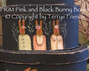 Prim Pink and Black Bunny Baskets,  Terrye French, pattern packet email