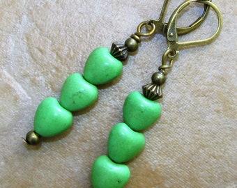 GREEN Triple Howlite HEART Bronze Tone Earrings HANDCRAFTED
