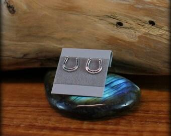 Horseshoe post earrings, Sterling sliver horseshoe earrings, Lucky earrings, Western earrings