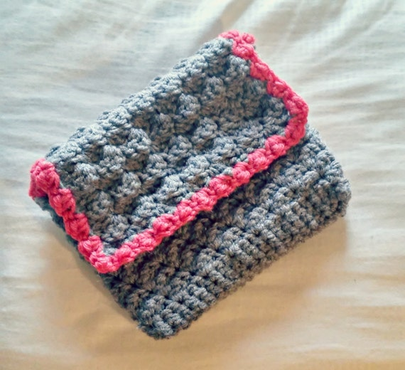 Small crochet envelope clutch in charcoal gray and watermelon pink