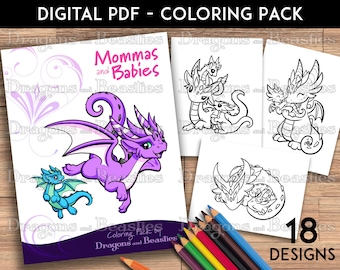 Color Pack Mommas and Babies-  Kids / Adult Coloring Pages - Cute Printable Fantasy Art  - Digital Coloring Book