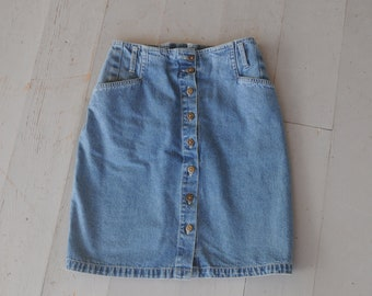 Vintage Gloria Vanderbilt Button Up High Waist Blue Denim Mini Skirt