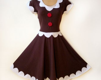 Gingerbread Man Woman Dress Costume Fit and Flare Pin Up Cookie Cake Kawaii