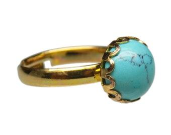 10mm Round Genuine Matrix Turquoise Gemstone Cabochon Gold Plated Adjustable / Expandable Ring