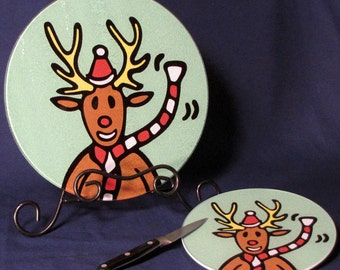 Reindeer Christmas Tempered Glass Cutting Board, 2 sizes available.