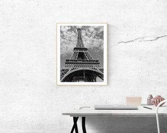 Eiffel Tower Prints, Paris Prints, Black and White, Photography, Digital, Printable, Wall Art, Poster, canvas Wrap