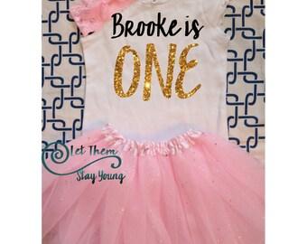 Customized First Birthday long sleeve Birthday shirt  Baby Girl Shirt Baby Girl Custom 1st Birthday Shirt Gold Pink Glitter First Birth Day