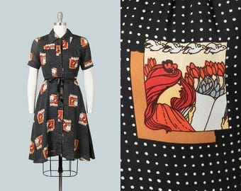 Vintage 1960s 1970s Dress | 60s 70s Novelty Print Dress Lady Reading Books Black Shirtwaist Full Skirt Day Dress (medium)