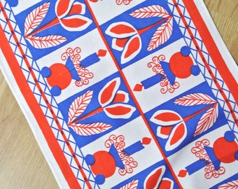 Swedish retro vintage 1970s printed blue/ red/ white cotton christmas rose/ candle motive design table-cloth runner
