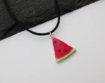 Watermelon Necklace, Watermelon Choker, Charm Necklace, Cord Necklace, Charm Choker, Watermelon Gifts, Watermelon Jewellery, Gift For Her