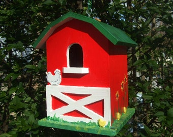 Handpainted Birdhouse - One Opening - Large - Wooden