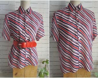 sheer large size vintage blouse - 80s diagonal stripes blouse.