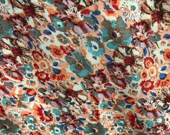 "100% Organic Rayon Challis Floral Print Fabric By The Yard 60"" Wide"
