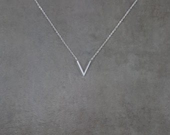 Dainty Silver Plated V Necklace Charm Stylish Pendant Necklace in Gift Box Down Arrow Point Trendy Beautiful Vee Letter