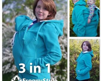 Versatile babywearing coat, 3in1 kangaroo hoodie, baby carrier jacket, fleece baby wearing maternity coat - teal, polar