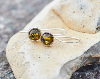 Natural Baltic Amber Earrings Green Yellow Amber Earrings Classic Handmade Earrings Baltic Amber Jewelry Jewellery Hooks Fathers Day Gift