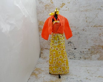 Barbie Summer Sun dress and Jacket fashions Outfit 11 inch doll orange yellow